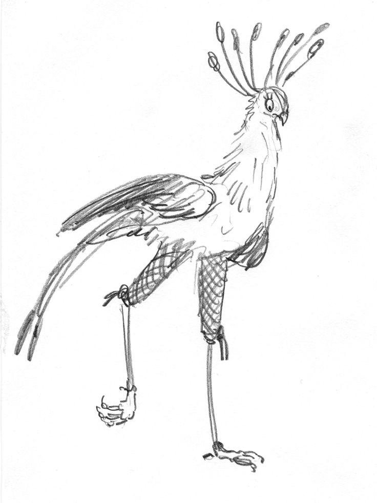 full body pencil character sketch for Leonard. #leonarddoesntdance #bird #secretarybird #picturebook #charactersketch #franceswatts