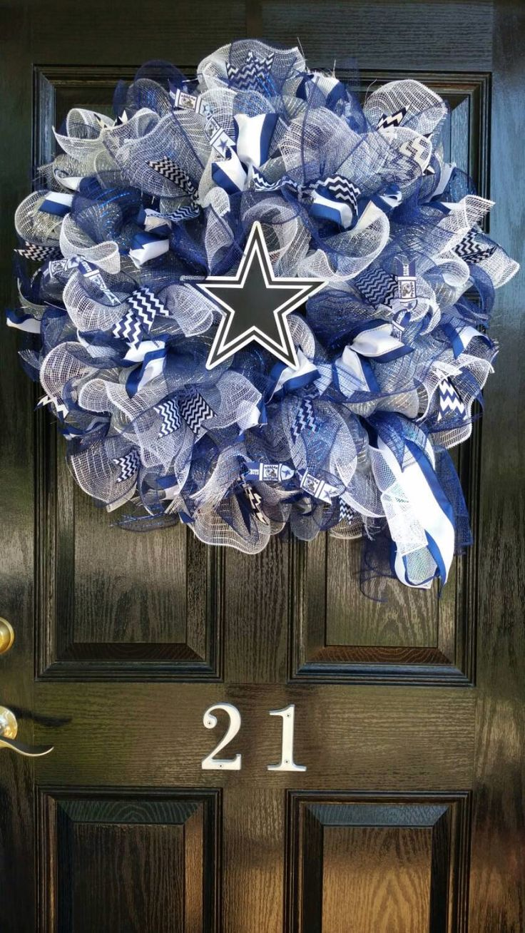 Large Mesh Ribbon Dallas Cowboys Star NFL Pro Football Wreath Blue White Silver by DesignTwentyNineSC on Etsy https://www.etsy.com/listing/244690039/large-mesh-ribbon-dallas-cowboys-star
