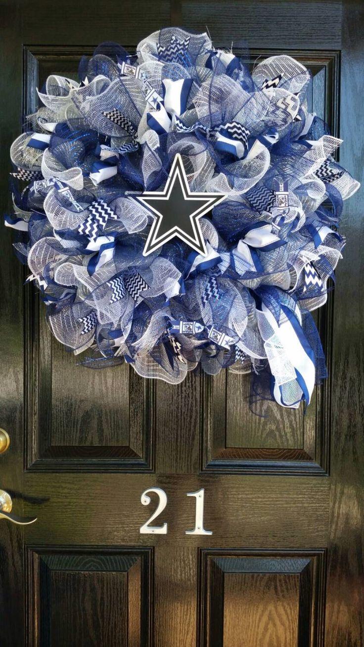 Large Mesh Ribbon Dallas Cowboys Star NFL Pro Football Wreath Blue White Silver by DesignTwentyNineSC on Etsy https://www.etsy.com/listing/244690039/large-mesh-ribbon-dallas-cowboys-star