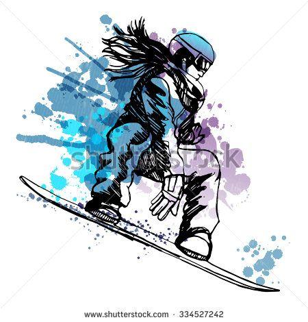 watercolor vector snowboarding