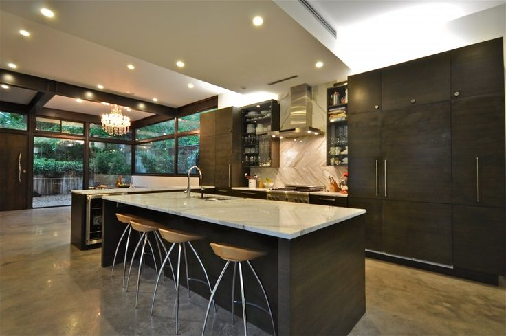 Furniture, Awesome Big Dark Laminate Wood Kitchen Island With White Marble Top Modern Industrial Bar Stool Crystal Chandelier White Marble Backsplash Dark Laminate Wood Kitchen Cabinet Recessed Kitchen Lightings Modern Kitchen Hood: Awesome New Kitchen Island Ideas