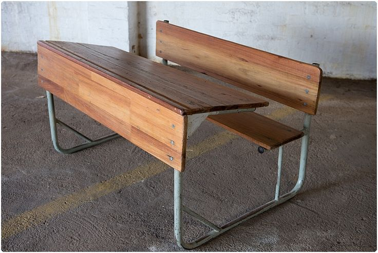 #NorthcliffAntiques Vintage school desk: double desk with metal frame below a fixed top and seat. #Johannesburg #Desks #Vintage