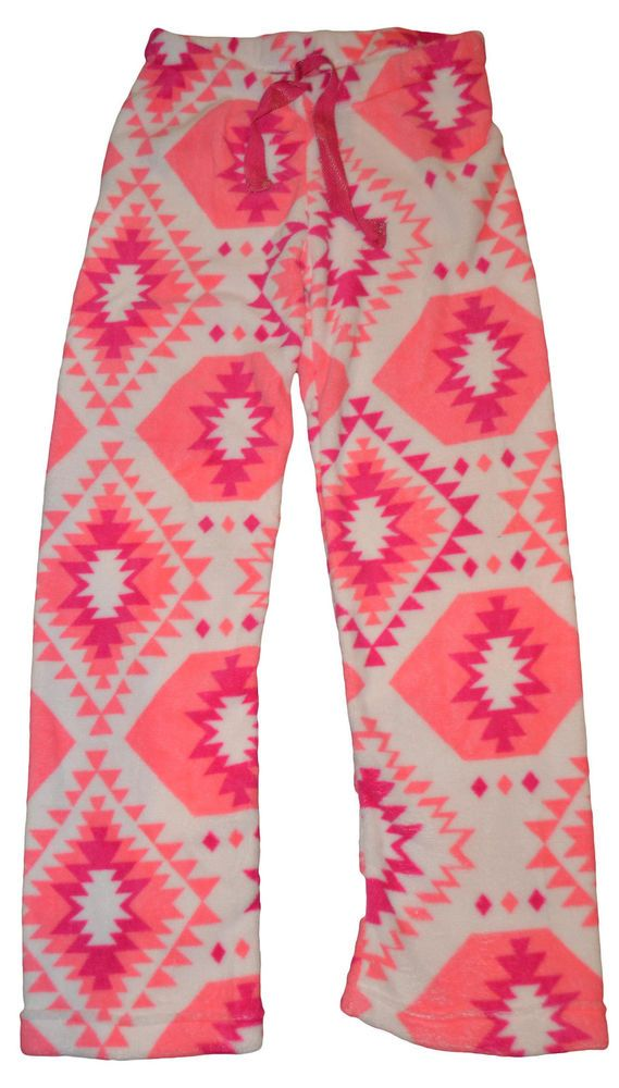 Ladies Tarea Rue 21 White & Pink Geo Plush Lounge Sleep Pants Sizes XS, S, M, XL #tarea #LoungePants