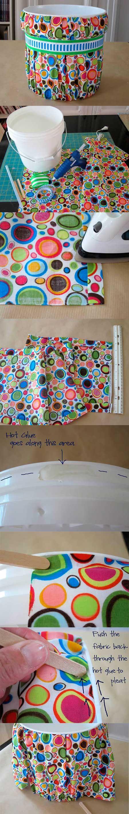 Lindo balde revestido com tecido - organize a sua casa
