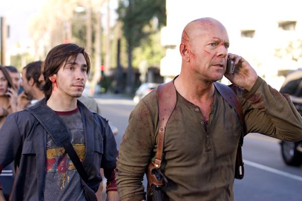 Live Free or Die Hard, Starring: Bruce Willis and Justin Long.