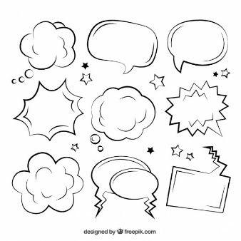 Burbujas de diálogo de cómic esbozadas
