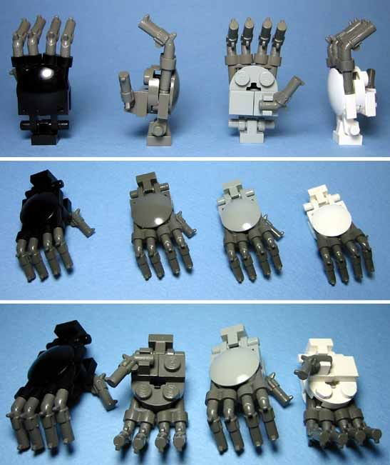 Lego hand, pistols for fingers articulated wrist