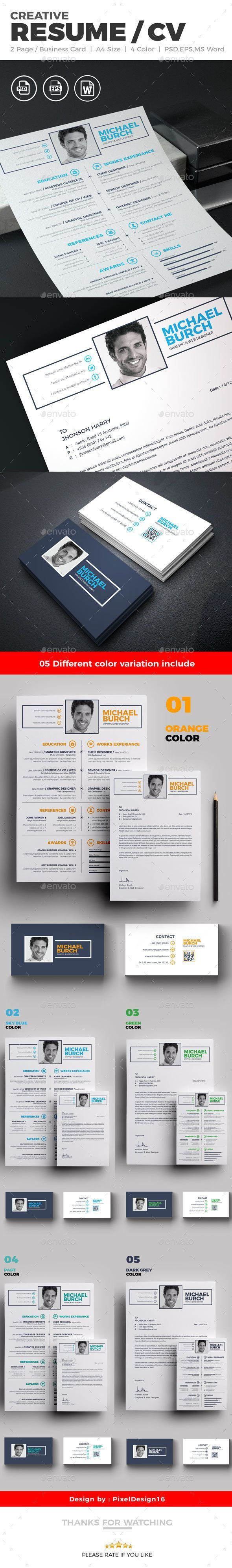 """Resume / CV Resume / CV """" Resume """" is a super clean, modern and professional resume cv template to help you land that great job. The flexible page designs are easy to use and customise, so you can quickly tailor-make your resume for any opportunity.. Flexible and Editable Resume Design This professional resume file is an Adobe Photoshop, illustrator and MS Word format resume, so you can use the software that you wish to edit the Resume with."""