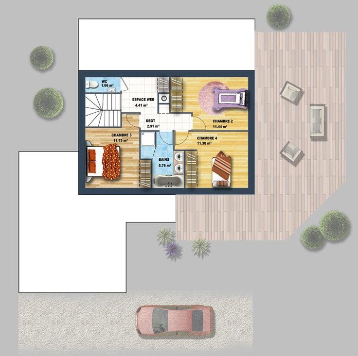47 best maison images on pinterest for Constructeur maison contemporaine 69