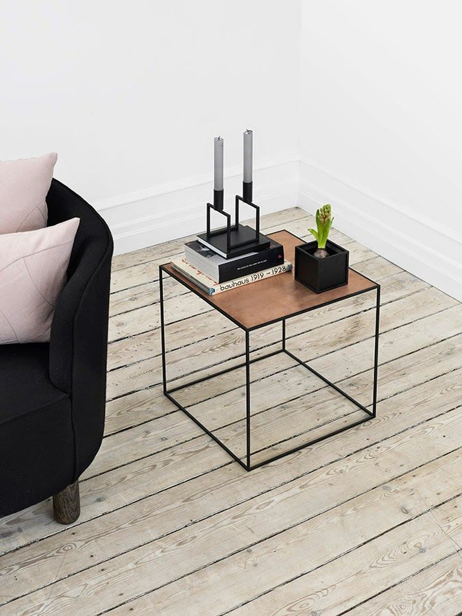 "Cube Side Table (can be made with welded 1/2"" square iron rods, 2'x2'x2', maybe a frosted 1/2"" glass top, held in place with 1/4"" stick on clear rubber dots)"