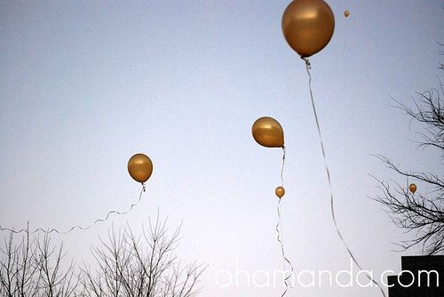 helium balloons with LED lights inside as a substitute for lanterns which happen to be a big FIRE hazard. good point.