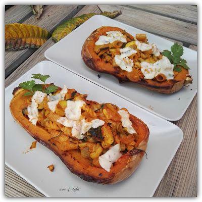 """Recetas Verofortyfit     """"Healthy and Delicious Food"""": CALABAZA ASADA, RELLENA DE PASTA AL WOK VEGETARIAN..."""