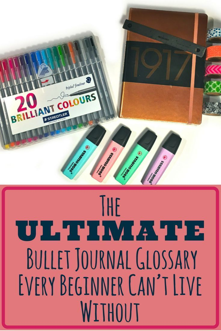 This very detailed bullet journal glossary highlights everything a beginner needs to know about bullet journals! It defines supplies, stationary, notebooks, hacks, tips, tricks, layouts, and so much more! Every beginner needs to bookmark this to their pag