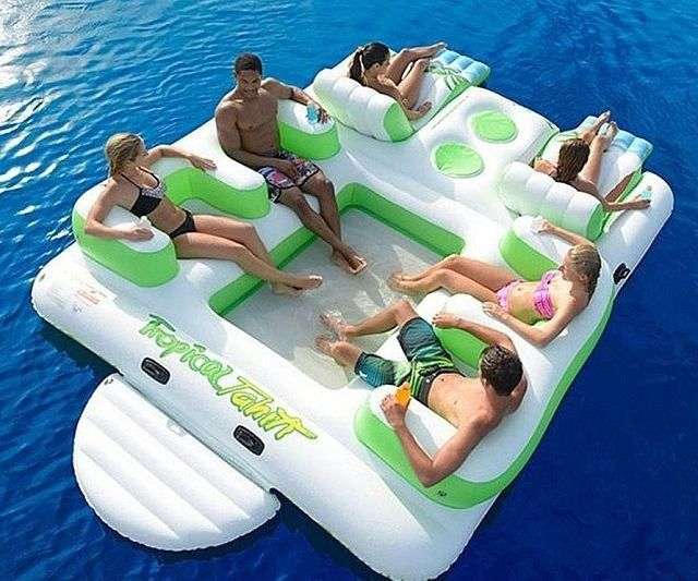 Huge inflatable floating island ~ and 20 other awesome accessories for your backyard |  Wow, your backyard must be enormous! I'd like to meet you...