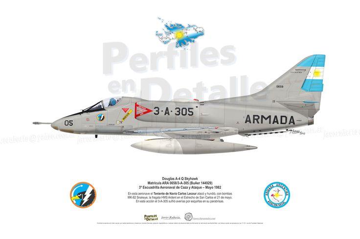 Douglas A-4 Q Skyhawk  Matrícula ARA 0658/3-A-305 (BuAer 144929) 3º Escuadrilla Aeronaval de Caza y Ataque Mayo 1982