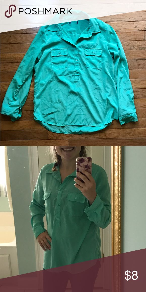 Green long sleeve top Excellent condition. Sort of a silky/smooth material. Very flattering. Fits like a medium Tops Blouses