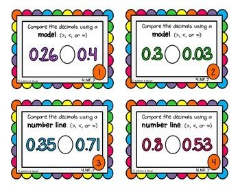 {FREEBIE} 4.NF.7 Task Cards: Compare & Order Decimals