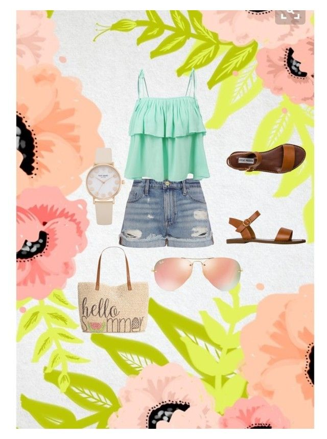 """Casual Sunday beach day by Sarah Nicole"" by bysarahnicole on Polyvore featuring Frame Denim, LE3NO, Steve Madden, Style & Co. and Ray-Ban"