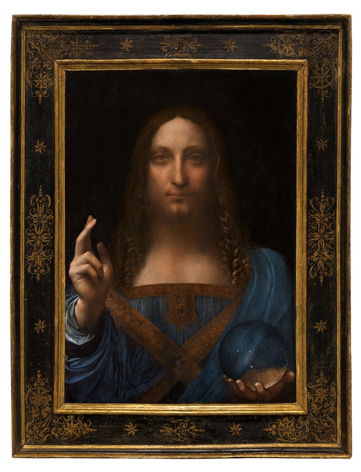 Leonardo da Vinci, Salvator Mundi.Oil on walnut panel. Panel dimensions 251316 x 171516 in (65.5 x45.1 cm) top; 17¾ in (45.6 cm) bottom; Painted image dimensions 15⅜ x 17½ in (64.5 x44.7 cm). Estimate on request. This work will be offered as a special lot in the Post-War and Contemporary Art Evening Sale on 15 Novemberat Christie's in New