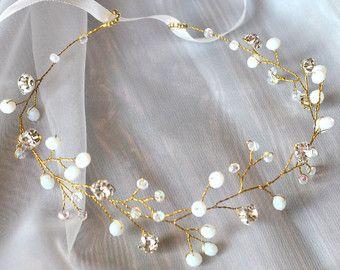 Bridal hair vine bridal crown flower crown white flower by Luletka