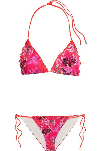 Etro - Ruffled Printed Triangle Bikini - Bright pink - IT38