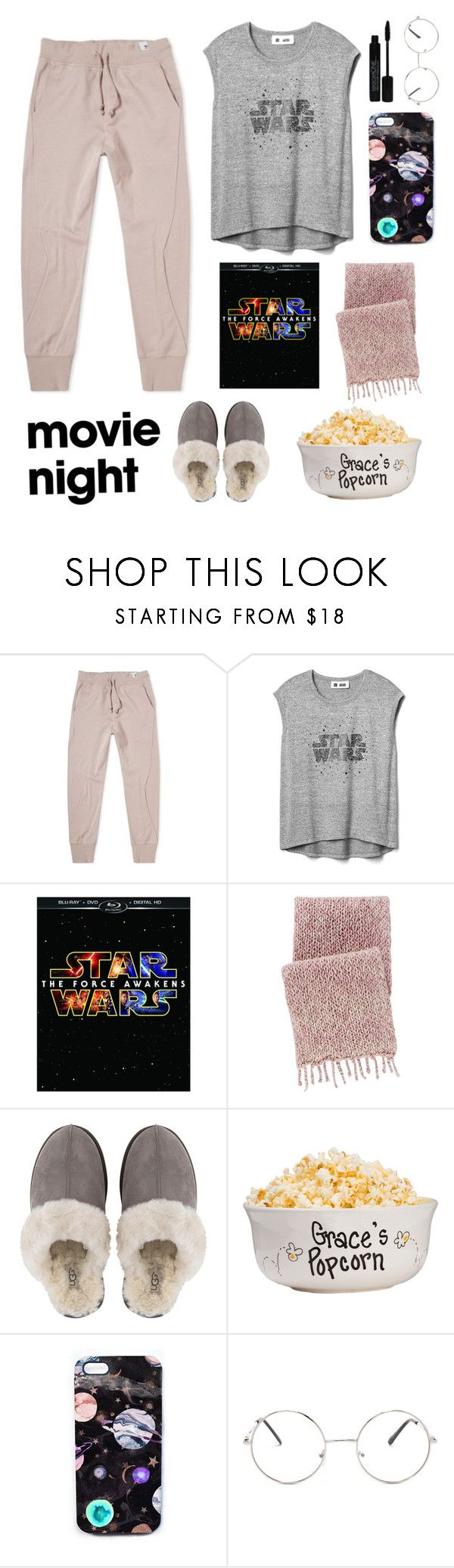 """Movie night"" by tlou14griffiths ❤ liked on Polyvore featuring adidas, Gap, Pine Cone Hill, UGG, Nikki Strange and Nasty Gal"