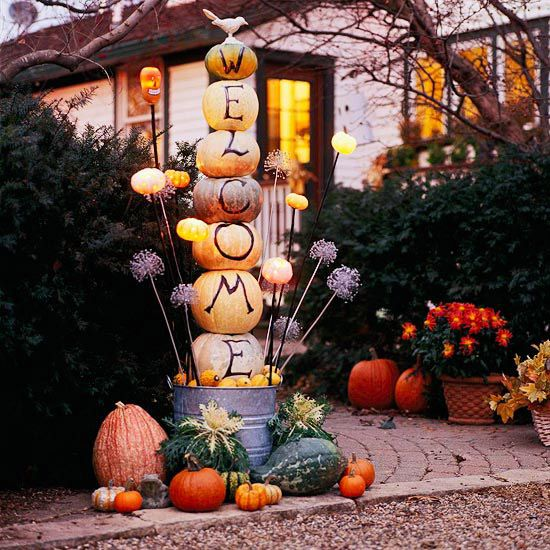 This is probably more than I could handle, but it's lovely nonetheless!: Pumpkin Ideas, Fall Pumpkin, Fall Decor, Autumn Fall, Halloween Pumpkin, Front Doors, Totems Pole, Halloween Ideas, Front Porches