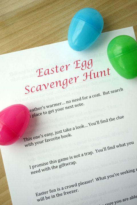 Easter Egg Scavenger Hunt Clues Easter