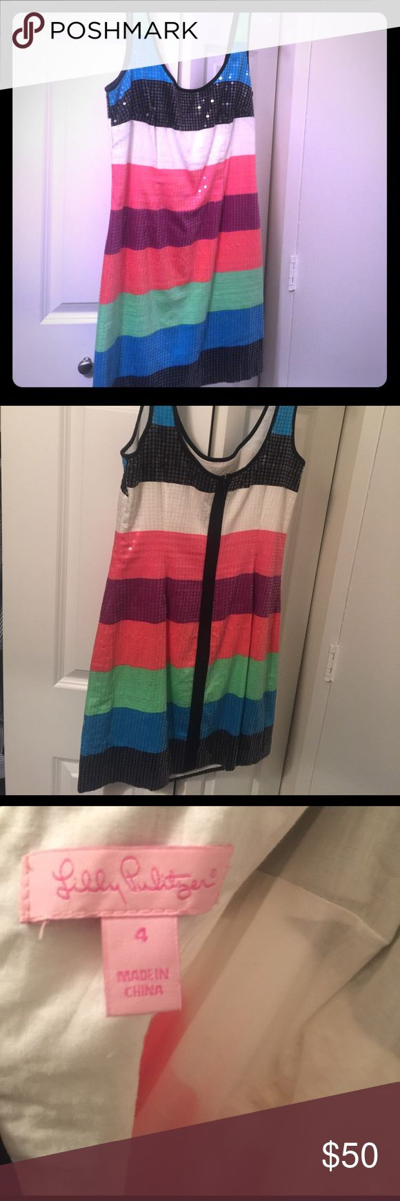 Lilly Delia cocktail dress size 4 Great cocktail dress, pairs well with nude or black heels. Wore for a few hours to a fraternity function and had dry cleaned. Could definitely fit a 4/6 S/M. Serious inquiries can make offers, comment and I will post to Merc for less Lilly Pulitzer Dresses Mini
