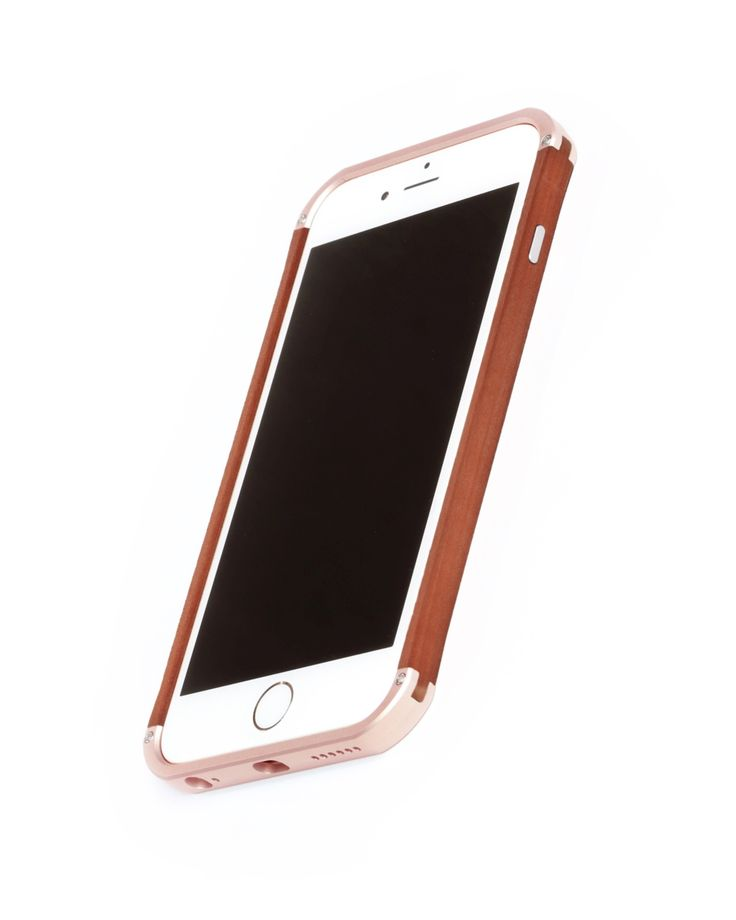"Hand finished Wood & Aluminum iPhone case ""Frozen Rose Gold & Pear"" combination :)"