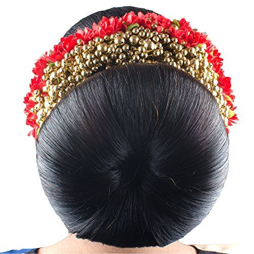 Majik Bridal Gajra (veni) Hair Accessories For Bun Decorations (Free Hair Donut 18 cm ) (Red) | BestChristmasGiftsShop