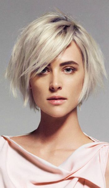 light ash blonde short asymmetric hair - Google Search https://www.facebook.com/shorthaircutstyles/posts/1720104311613342 #BlondeHairstylesShort