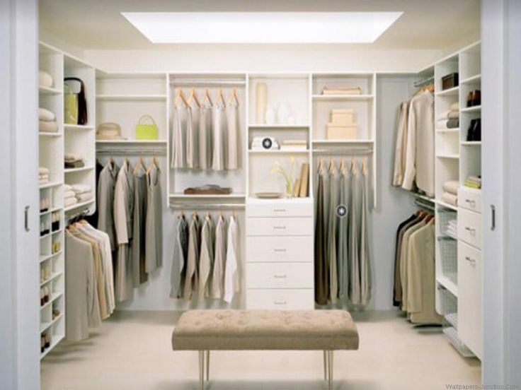 Closet And Wardrobe Designs. Beautiful Neutral Cream White Color Theme  Walk In Closet In Amazing Minimalist Design With Clean And Nice Furniture  Set.