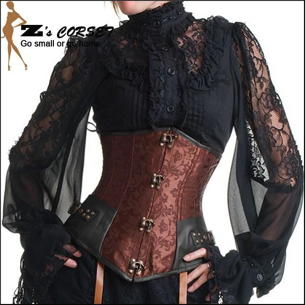 Wholesale cheap Corset online, Natural Color - Find best Sexy Steampunk Corset Steel Boned Waist Training Corsets Gothic Underbust Corselet Plus Size Brown Steampunk Corset Slimming at discount prices from Chinese Bustiers & Corsets supplier - dongguan_wholesale on DHgate.com.