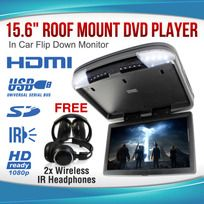 """15.6"""" DVD player Roof mount In Car Flip Down Monitor HDMI suit 12V/24V vehicle"""