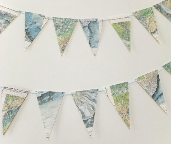 Mountain Map Bunting, eco-friendly banner, upcycled paper bunting, wedding pennants