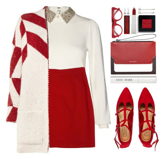 """""""#1009 Judy"""" by blueberrylexie ❤ liked on Polyvore featuring Alice + Olivia, ESCADA, Maje, Truffle, Bobbi Brown Cosmetics, Marni, Elle and Maybelline"""