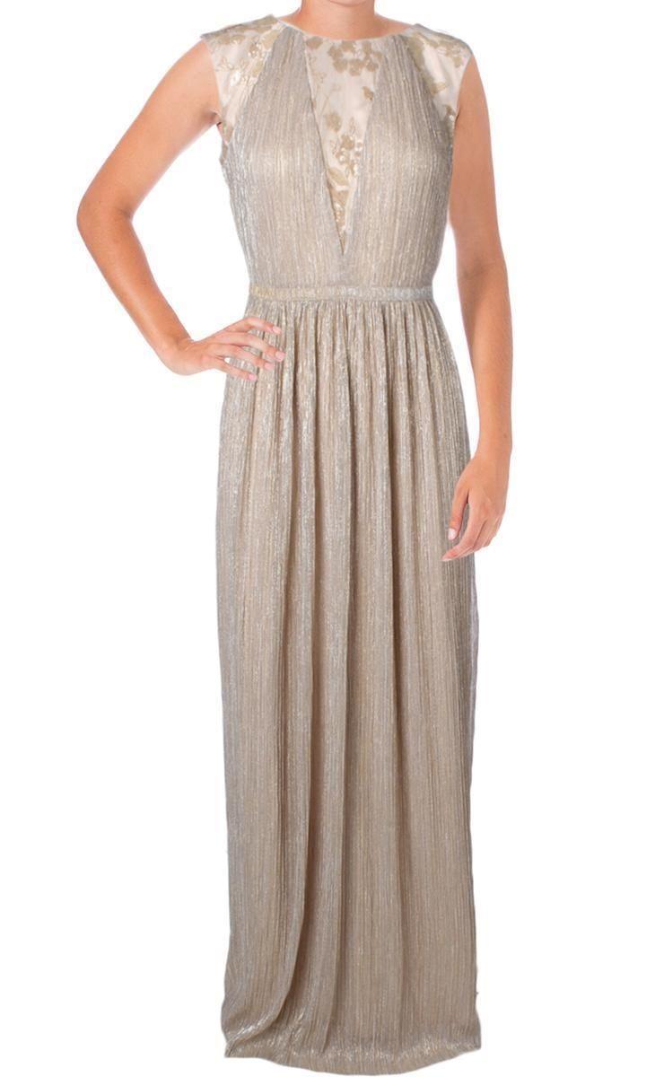 Tahari Asl 2271 Keith Gold Metallic Sleeveless Evening Dress Gown Taille 38 Gowns Dresses Evening Dresses Maxi Dress [ 1200 x 730 Pixel ]