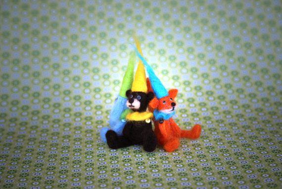 Needle felted animal. Miniature animals: bear hare by donidinadya