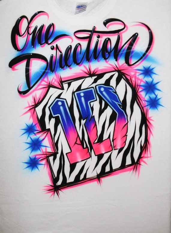 Airbrush T Shirt One Direction Logo Zebra by BizzeeAirbrush, $19.99