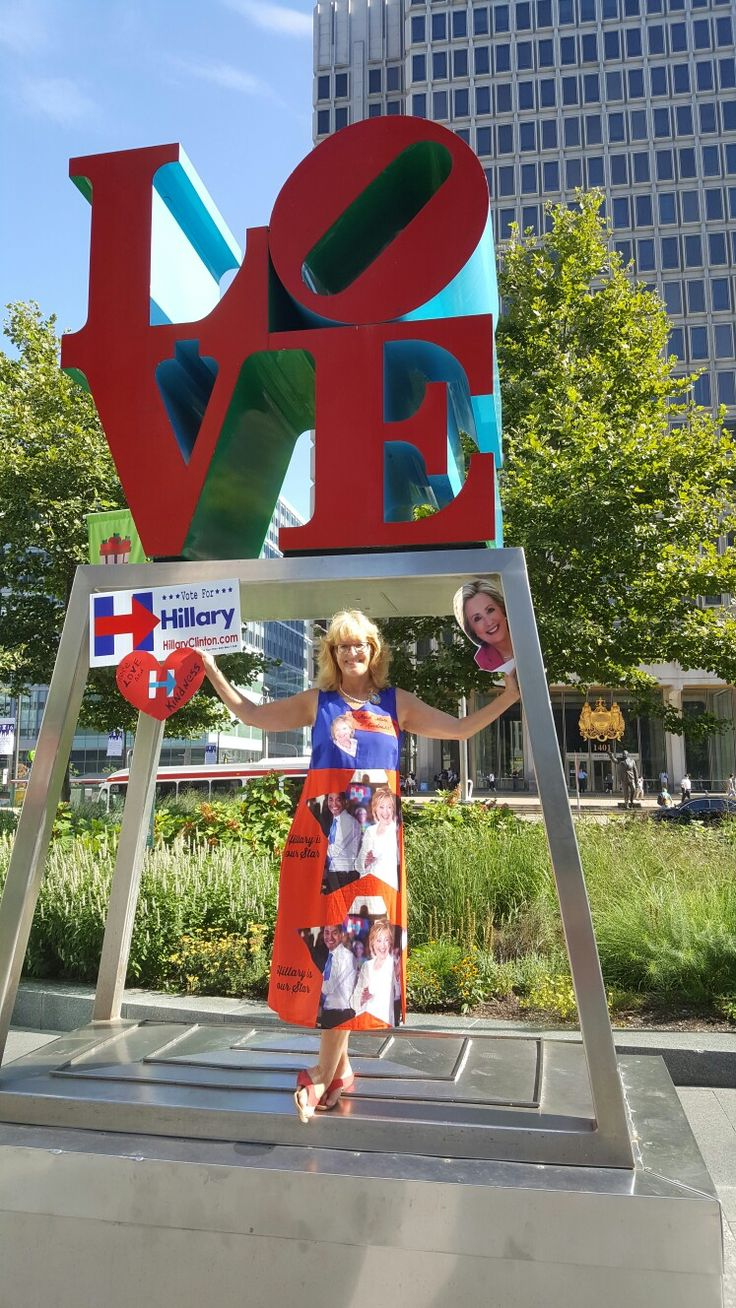 Kelly Jacobs is wearing a Hillary Clinton two-sided dress with Julian Castro in a heart on one side and an a star on the other side of the reversible dress, of her own design In Philadelphia for the DNC convention #HillaryDress #ObamaDress  #PoliticalFashion #PoliticalFashionista