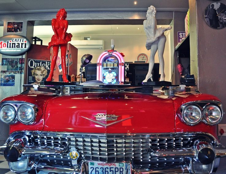 """Marilyn's 60's Diner - StormsRiver, Eastern Cape """"Prepare to Rock and Roll"""" Marilyn's 60's Diner is an experience of note, with its Cadillac's and Chevy's, neon rimmed signage, 50 and 60's decor, and Elvis and Marilyn memorabilia. Find accommodation in Storms River / Tsitsikamma https://www.wheretostay.co.za/town/stormsriver-tsitsikamma/accommodation"""