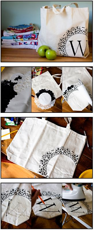 DIY Doily Canvas Bag.. these would be cute as presents