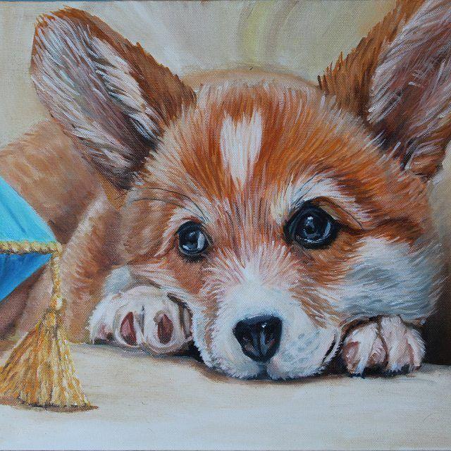 "Картина маслом ""Щенок ""Коржик"", холст, масло, 30 на 40 см. Очень люблю собак), особенно таких милых как корги. #oilpaint #oilpaintings #paintings #painter #artworks #artgallery #картинамасломнахолсте #картинамаслом #картинаназаказ #корги"