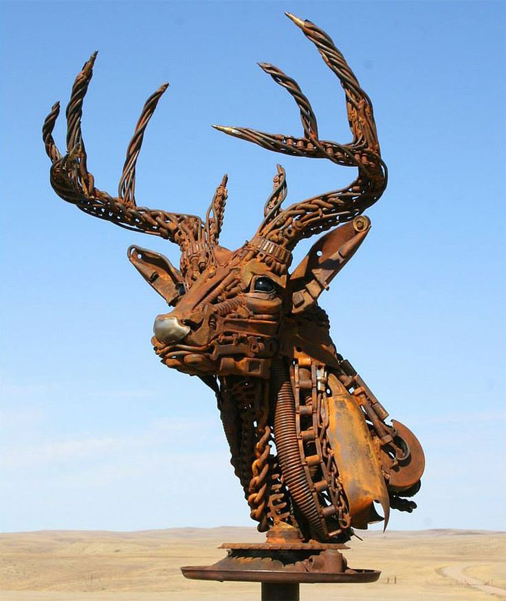 Scrap metal art.  (Deer head).