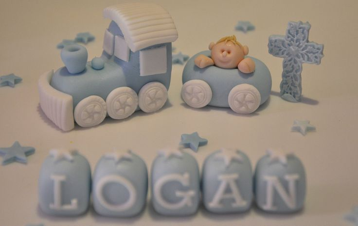 Edible Cake Decorations Boy : Details about HANDMADE EDIBLE BABY BOY TRAIN CHRISTENING ...