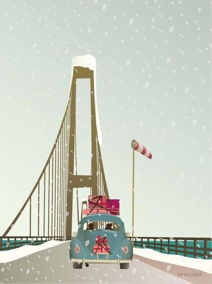 Vissevasse driving home for christmas plakat - det ligner Storebæltsbroen - hjem til Fyn til Jul -  YAY!! måske er det Lillebæltsbroen ?
