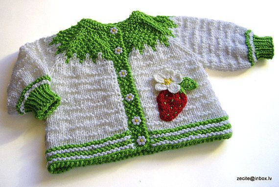 Baby jacket with strawberry  handknitted / size 05M by MiaPiccina, $46.00