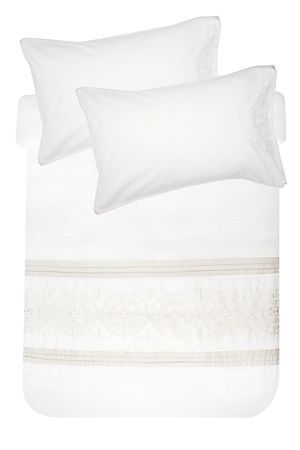 "This duvet cover set is made from a 100% natural cotton and has a feminine embroidered design. The high quality 180 thread count has a refined texture that provides extra comfort for those lazy mornings in bed. Single and three quarter include 1 standard pillowcase, double, queen and king include 2 standard pillowcases.<div class=""pdpDescContent""><BR /><BR /><b class=""pdpDesc"">Fabric Content:</b><BR />100% Cotton<BR /><BR /><b class=""pdpDesc"">Wash Care:</b><BR>Gentle cycle cold wash</div>"