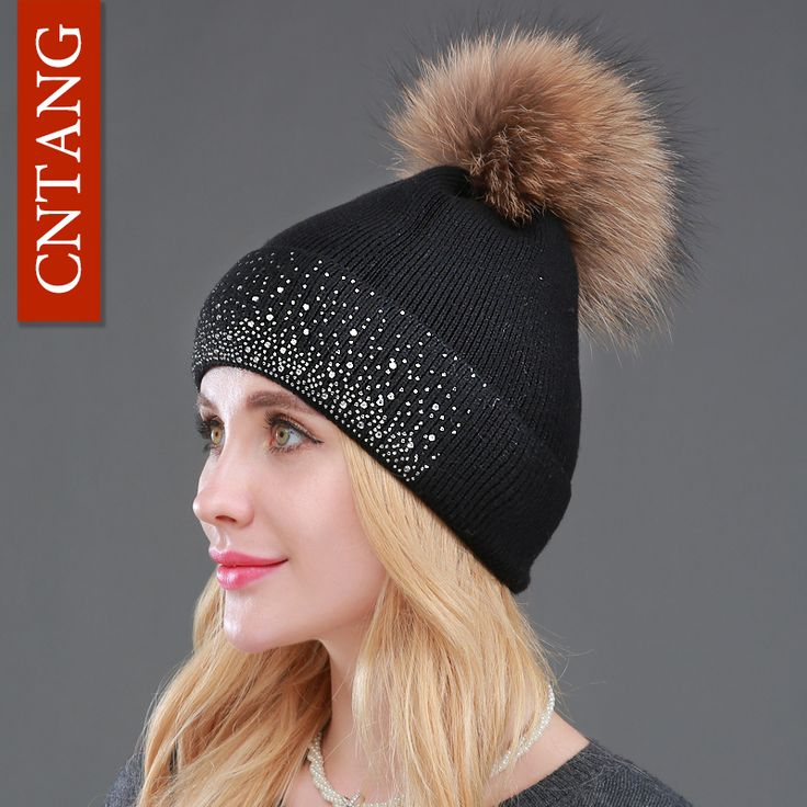 2016 Winter Fashion Women Hats 100% Raccoon Fur Beanie Warm Female Pompon Decorated With Diamond Embroidery Caps Knitted Fur Hat #>=#>=#>=#>=#> Click on the pin to check out discount price, color, size, shipping, etc. Save and like it!